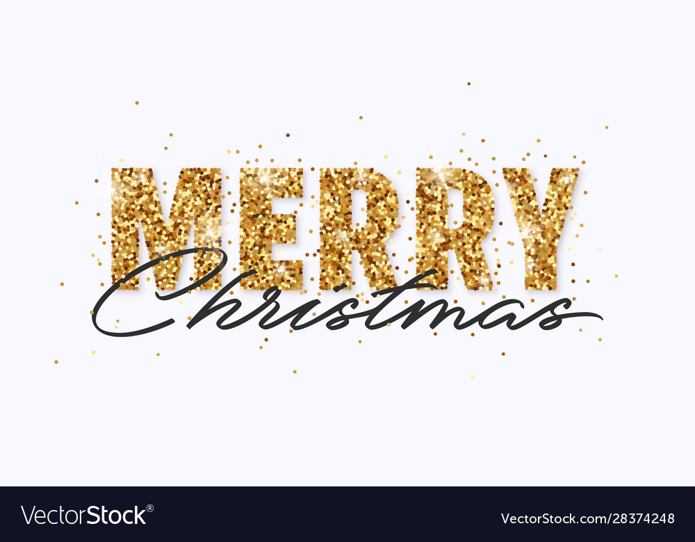 Merry christmas gold glitter and lettering design
