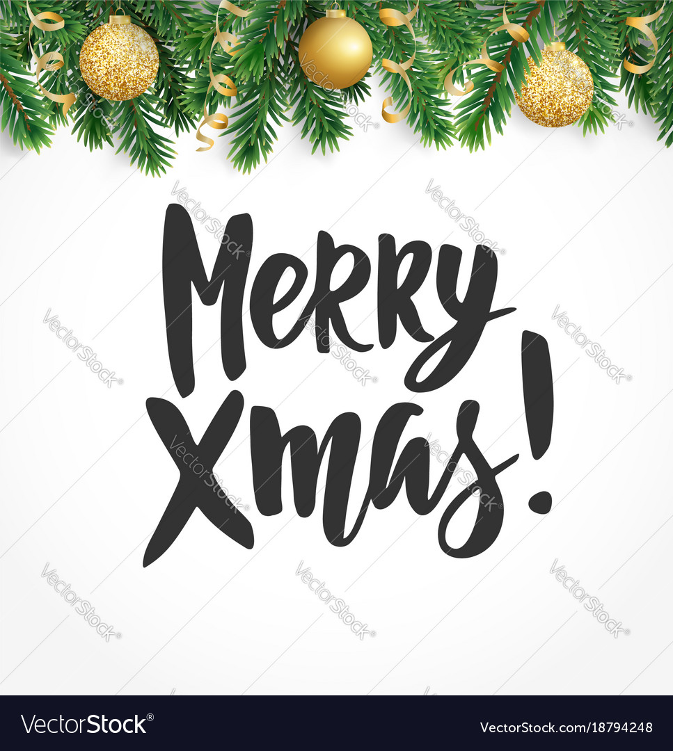 Merry xmas text hand drawn lettering winter Vector Image
