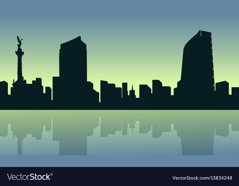 Mexico city with reflection scenery collection