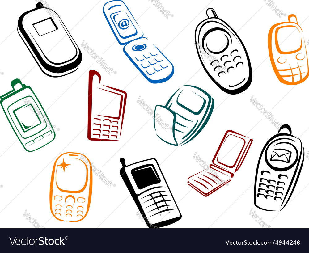 Modern and retro mobile phones icons