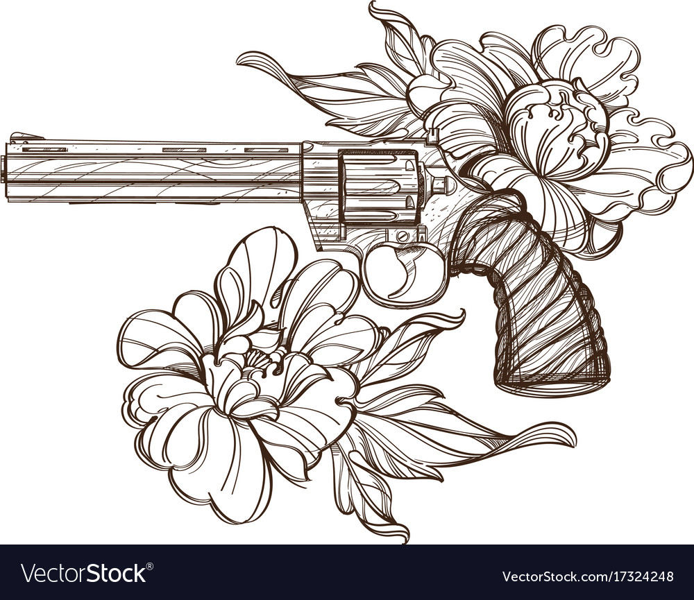 Revolver and peonies contour for tattoo print for