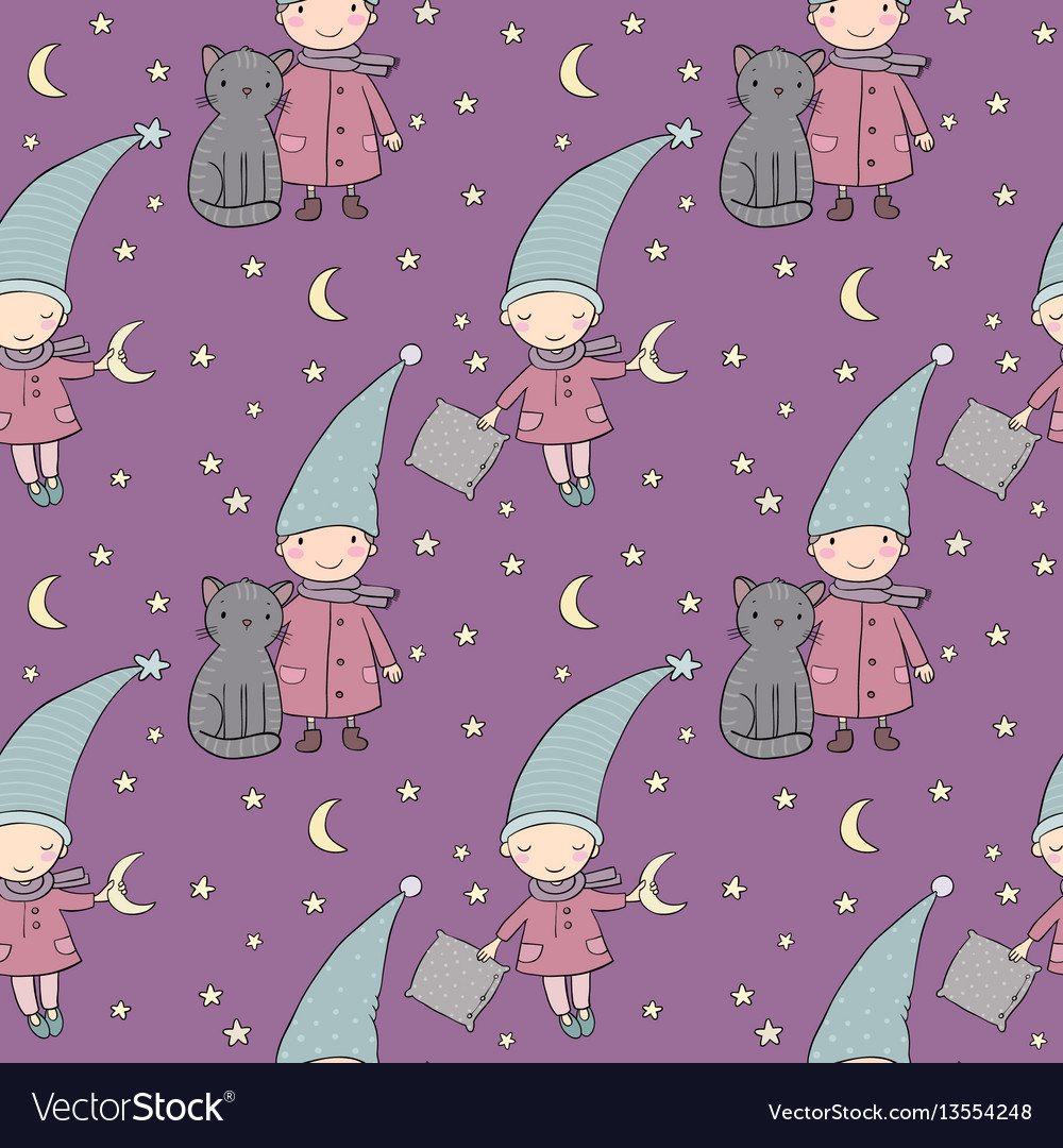 Seamless pattern with cute gnome and cat