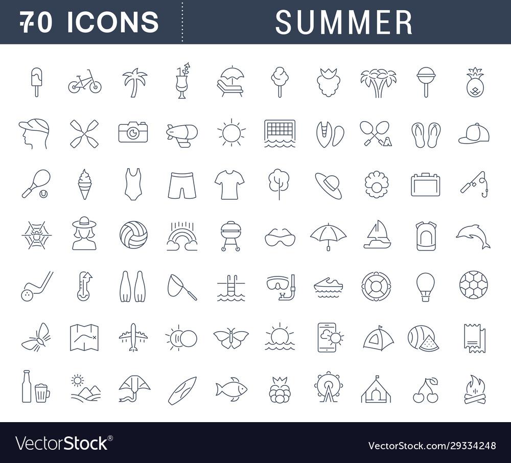 Set line icons summer