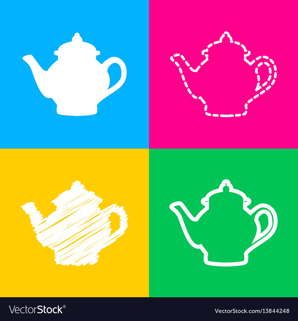 Tea maker sign four styles of icon on four color