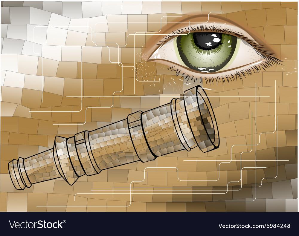 Telescope and eye vector image