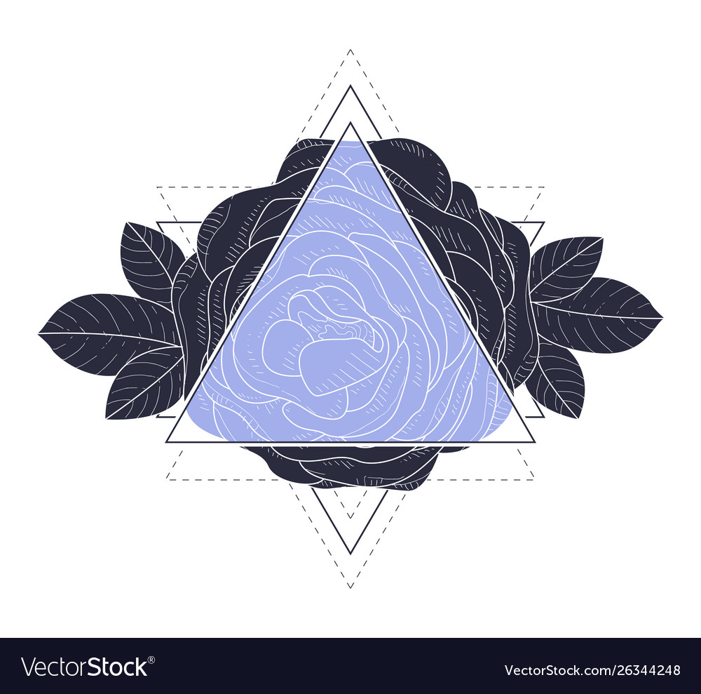 Triangle with rose flowers and leaves