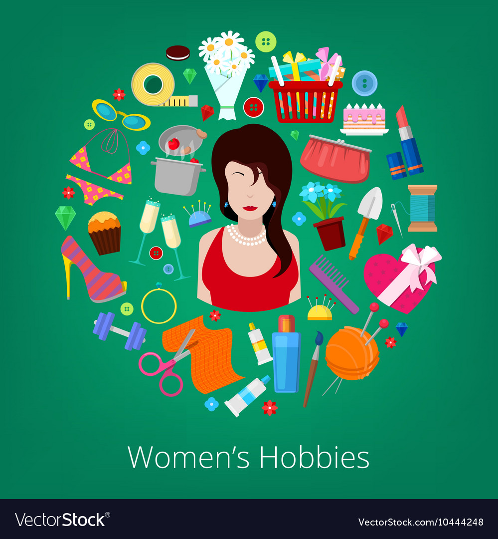Woman Hobby Elements Set Icons