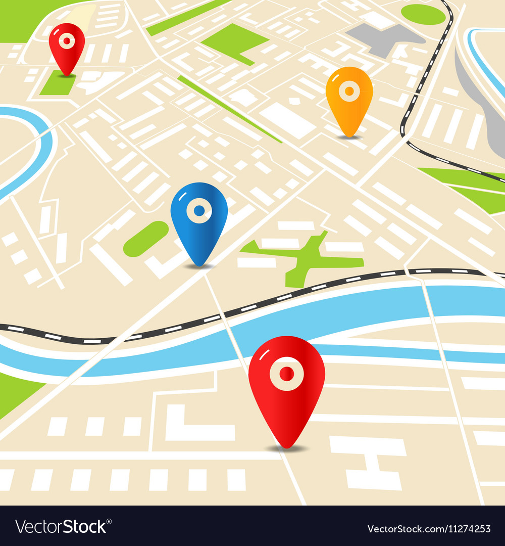 Abstract city map with color pins Flat design