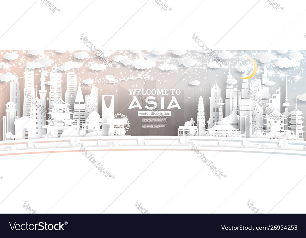 Asia city skyline in paper cut style