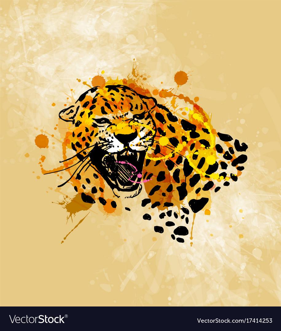 Colored hand sketch head roaring jaguar