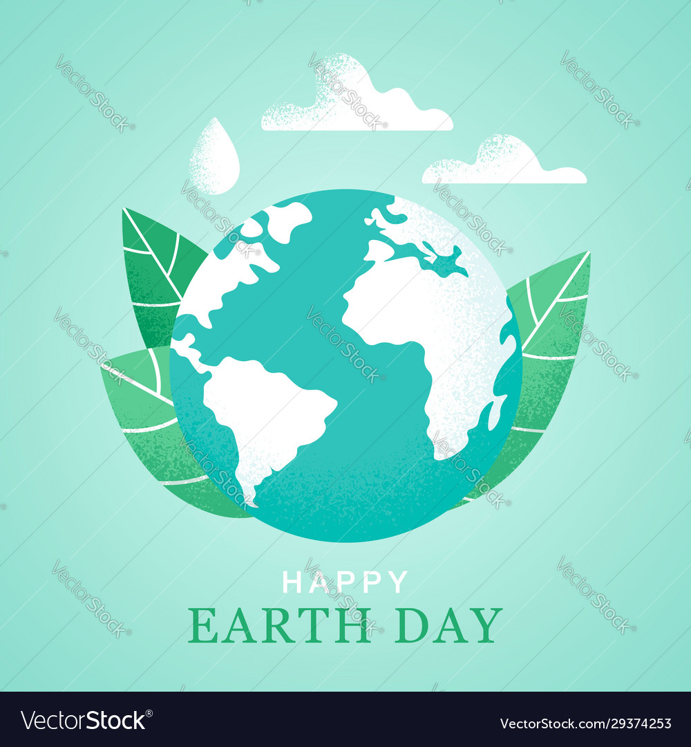 Happy earth day 22 april banner world map