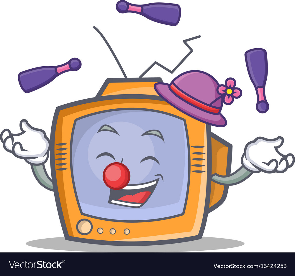 Juggling tv character cartoon object vector image