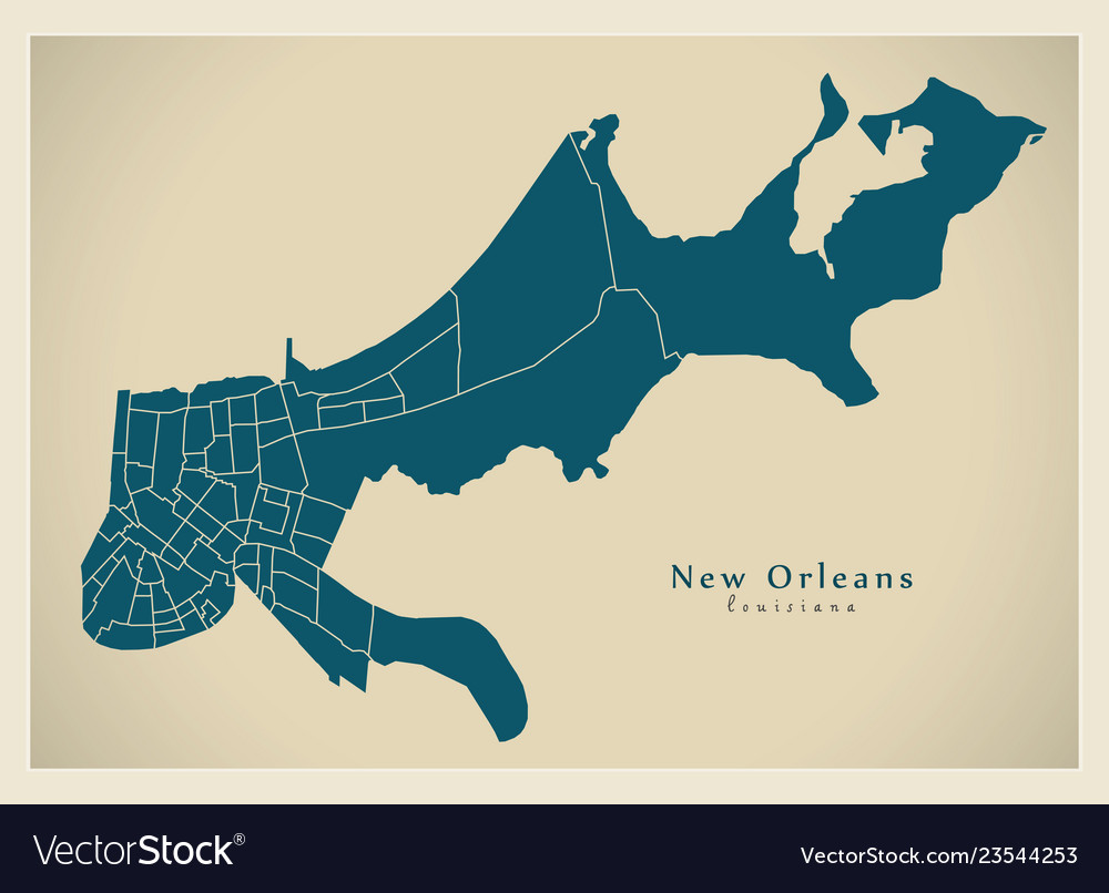 Modern city map - new orleans louisiana city of