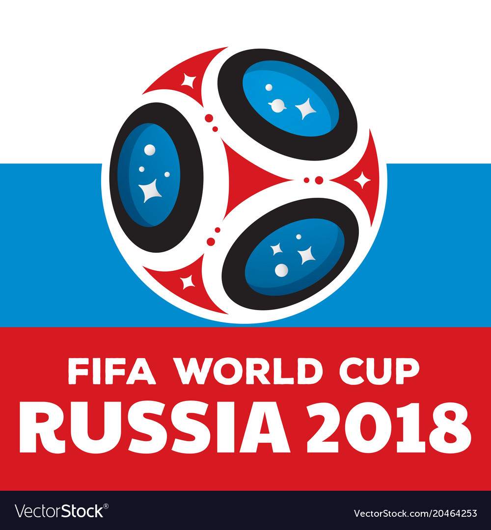 Russia world cup 2018 with flag vector image
