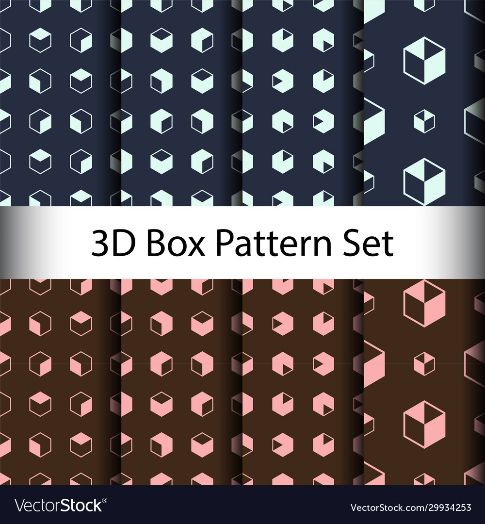 Set 3d box seamless pattern background vector
