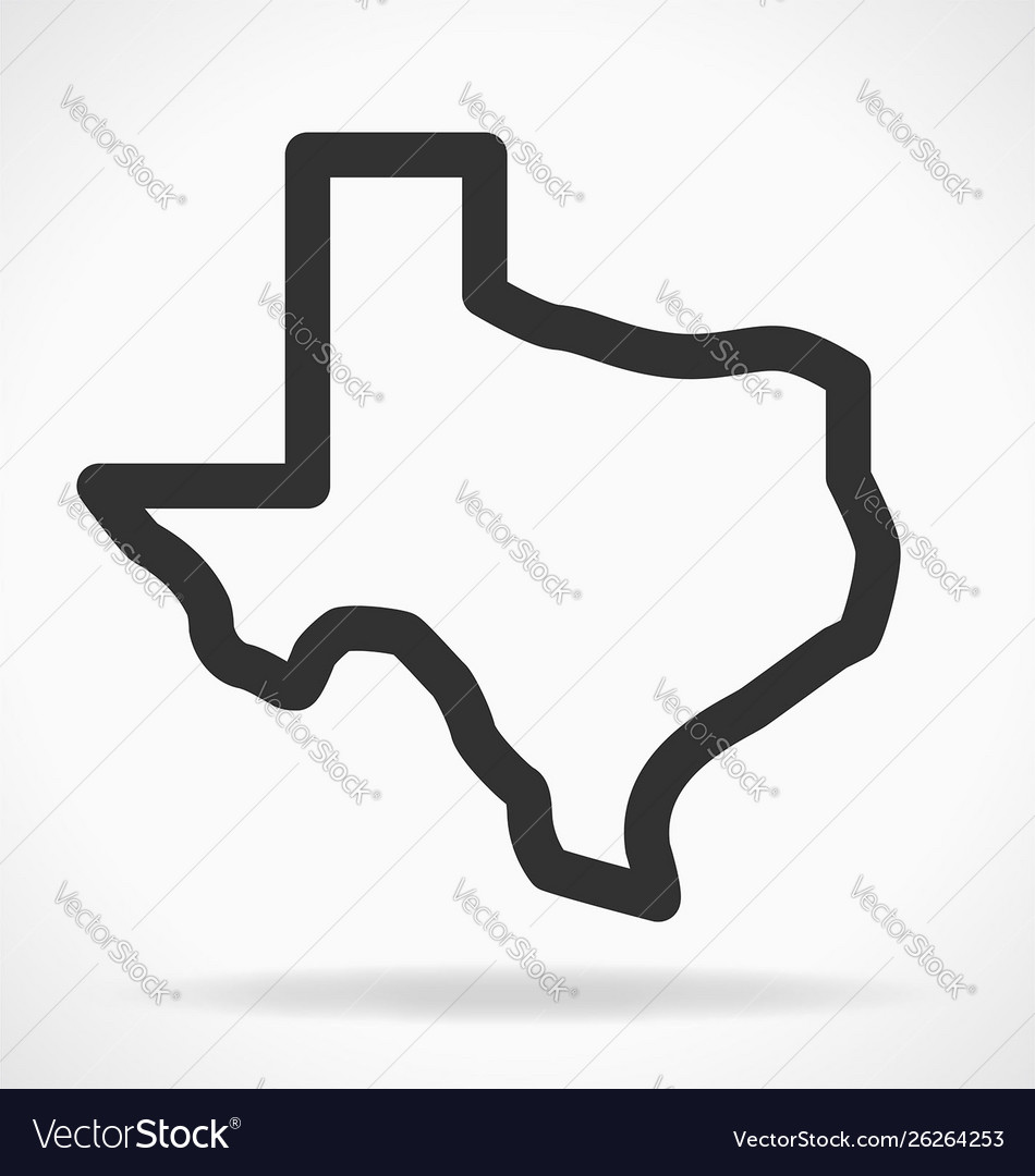 Texas Tx State Map Outline Simplified Royalty Free Vector