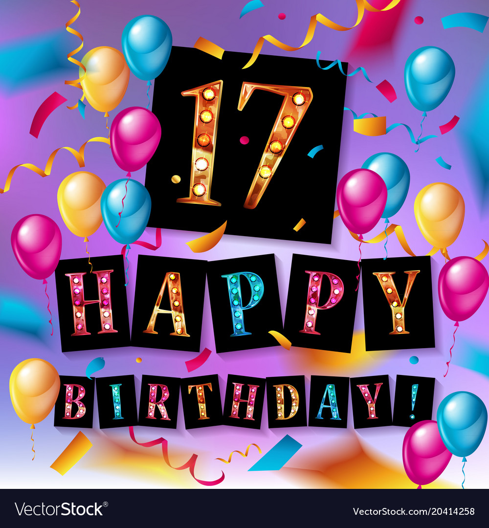 17th Birthday Celebration With Gold Balloons Vector Image