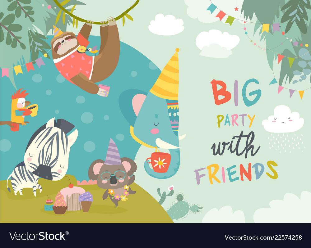 Birthday background with happy cartoon