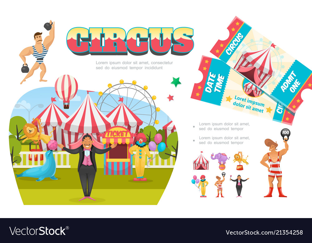 Flat circus elements composition