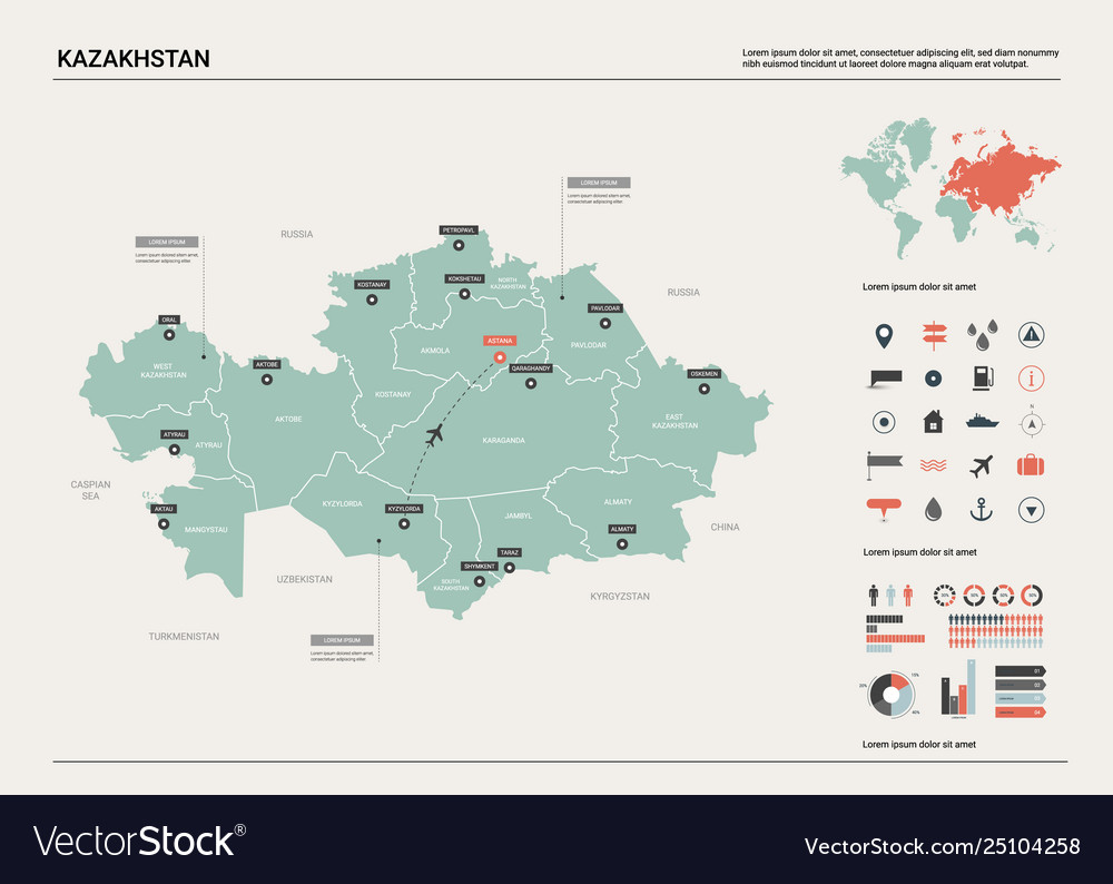 Map kazakhstan high detailed country map with