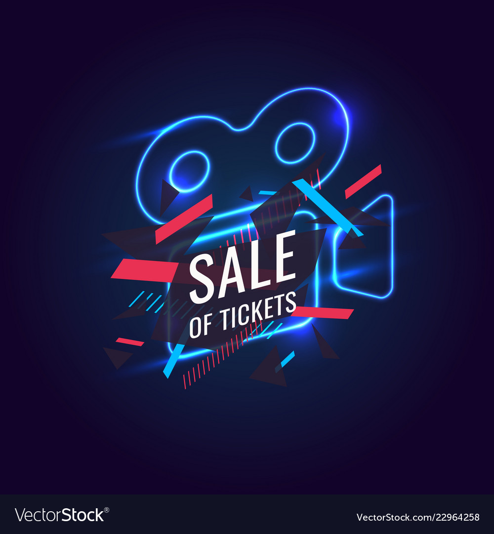 Neon poster sale of tickets modern graphics