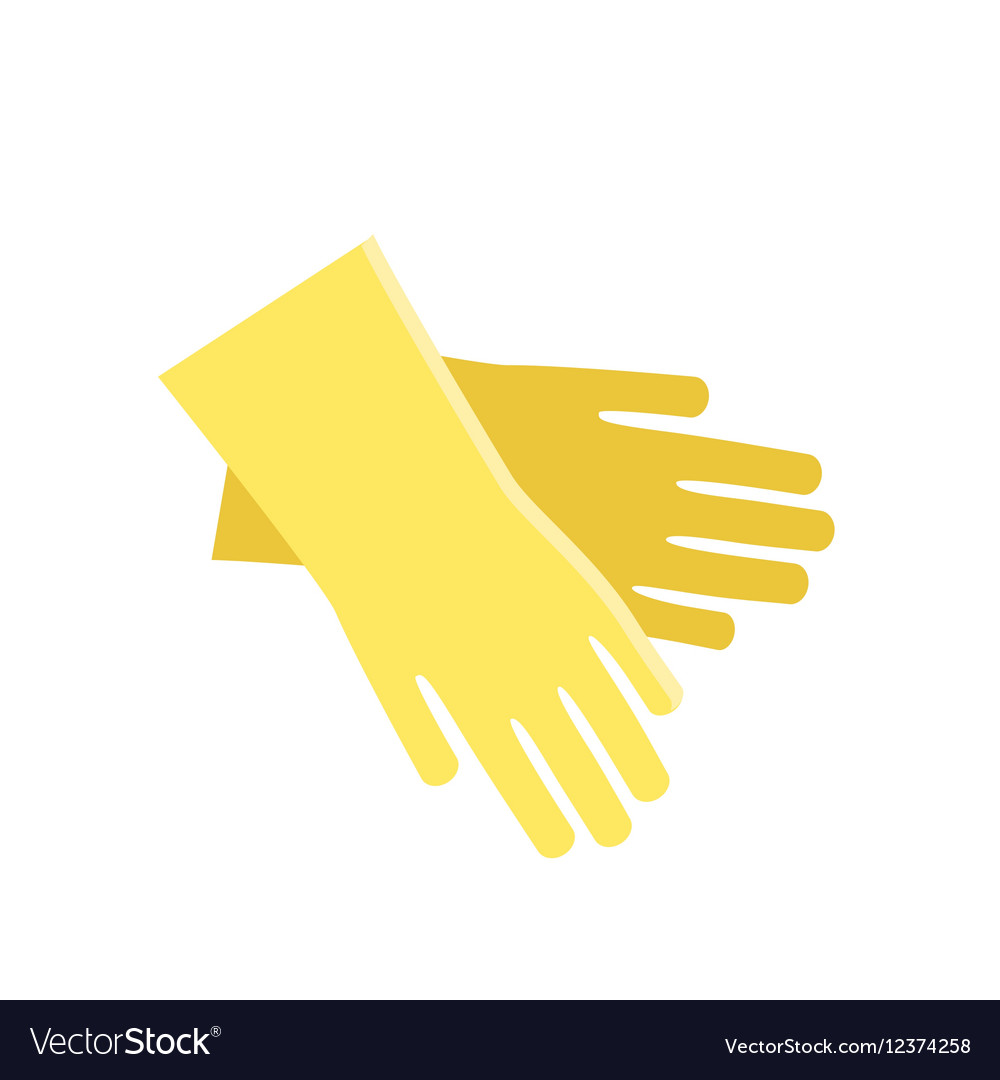 Rubber yellow gloves cartoon flat icon vector image