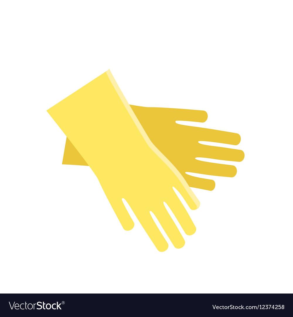 Rubber yellow gloves cartoon flat icon