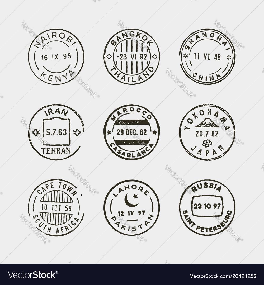 Set vintage postage stamps