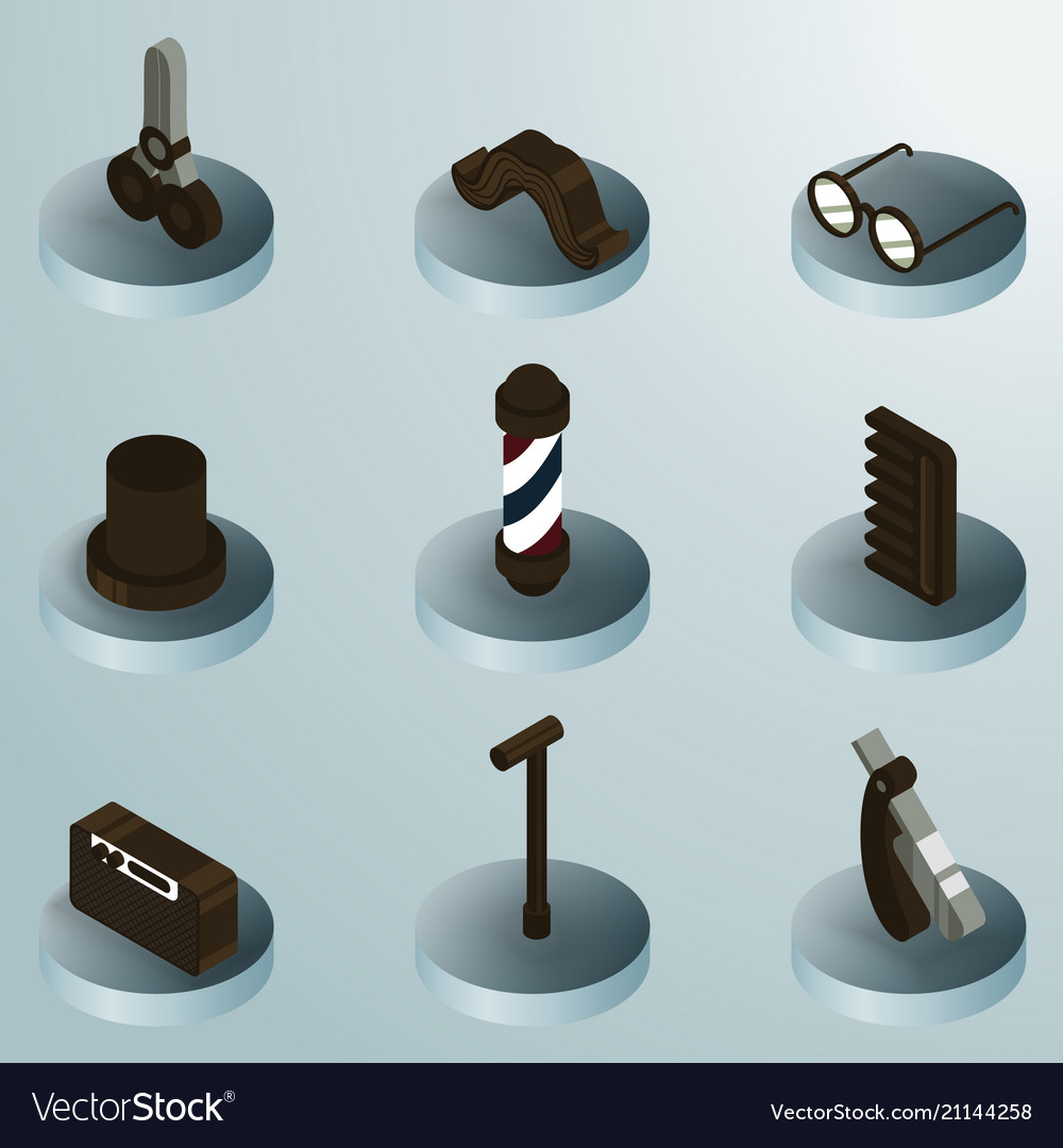 Vintage stuff color isometric icons