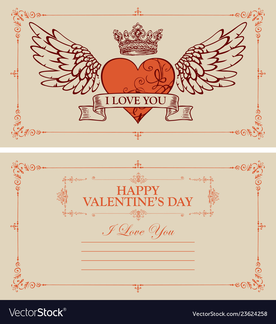 Vintage valentine card with red heart and wings