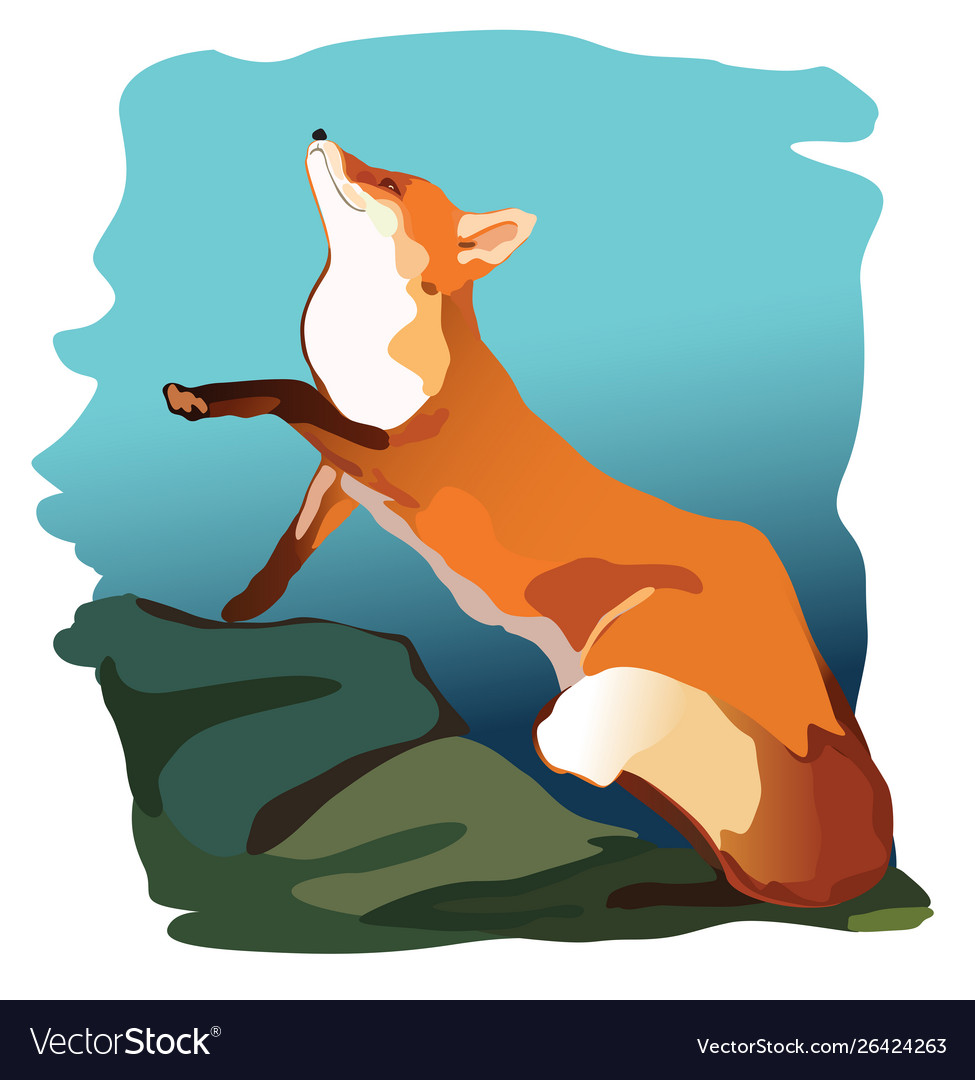 A red-haired wily fox sits in forest red tail