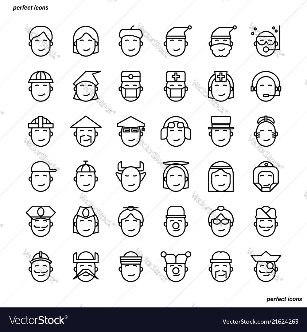 Avatar outline icons perfect pixel