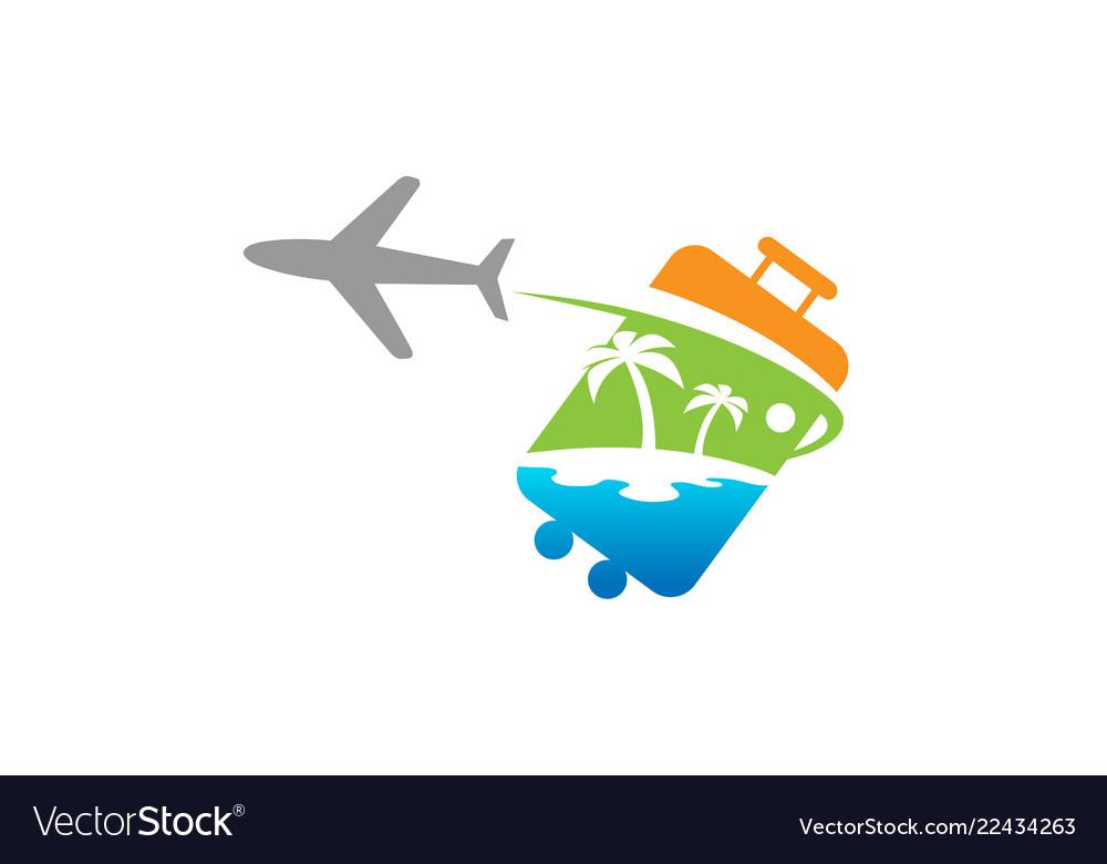 Bag travel airplane creative air design logo
