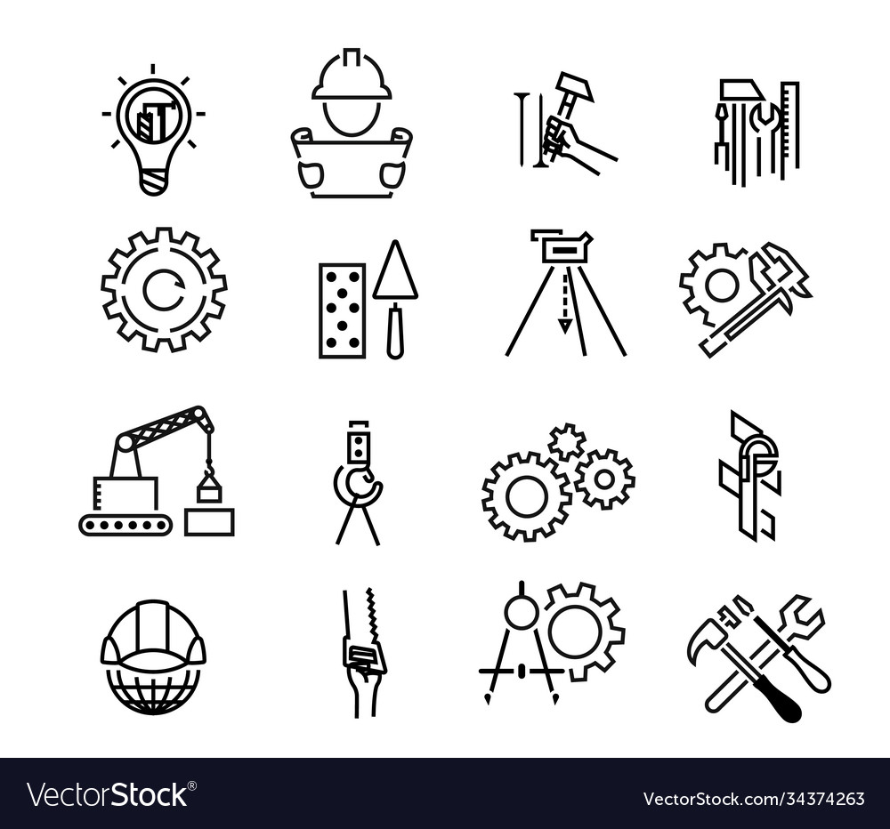 Black building icons in simple style building