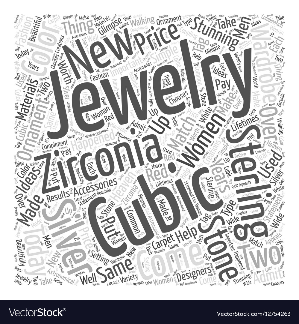 Cubic Zirconia and Sterling Silver Word Cloud