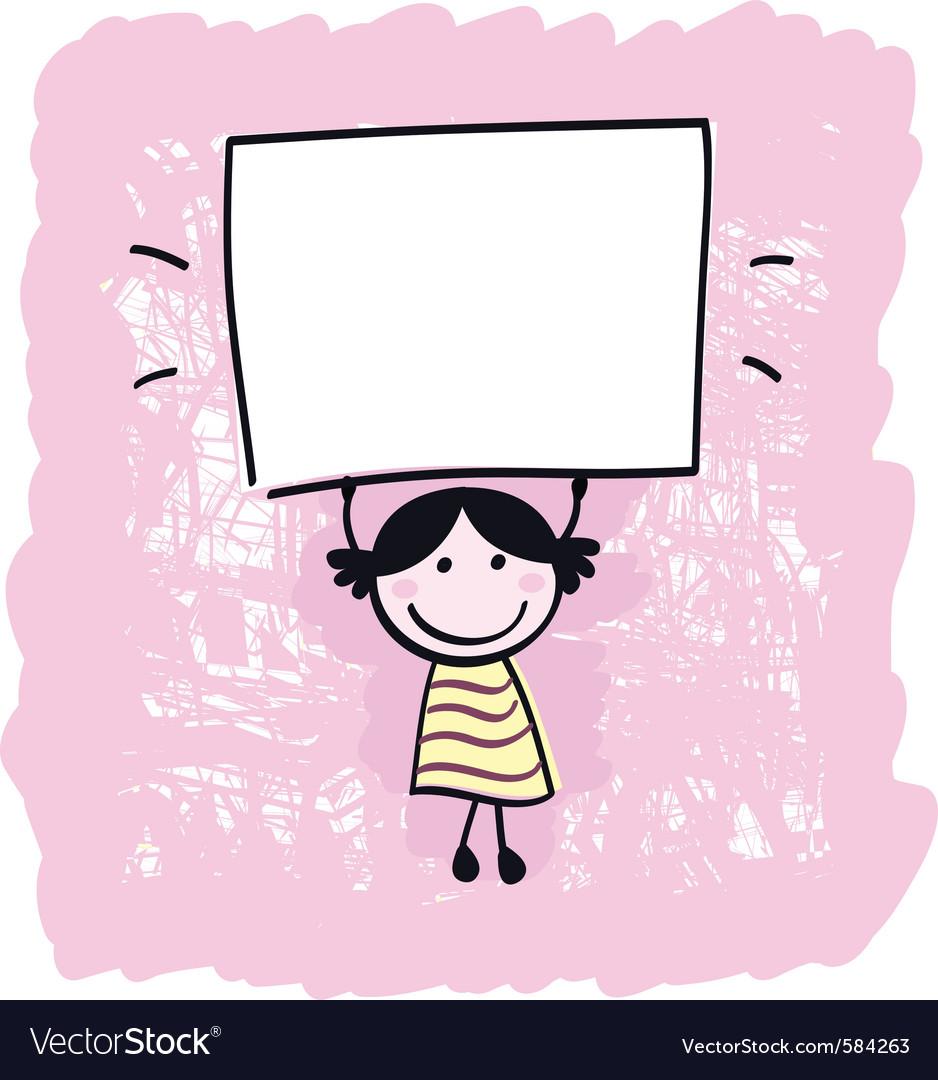 Cute doodle retro kid vector image