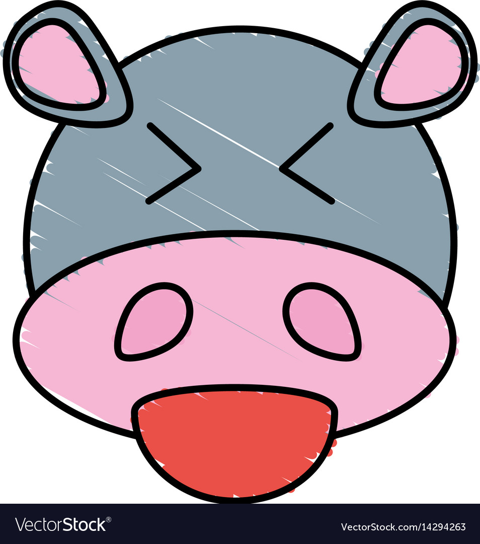Cute hippo drawing animal vector image
