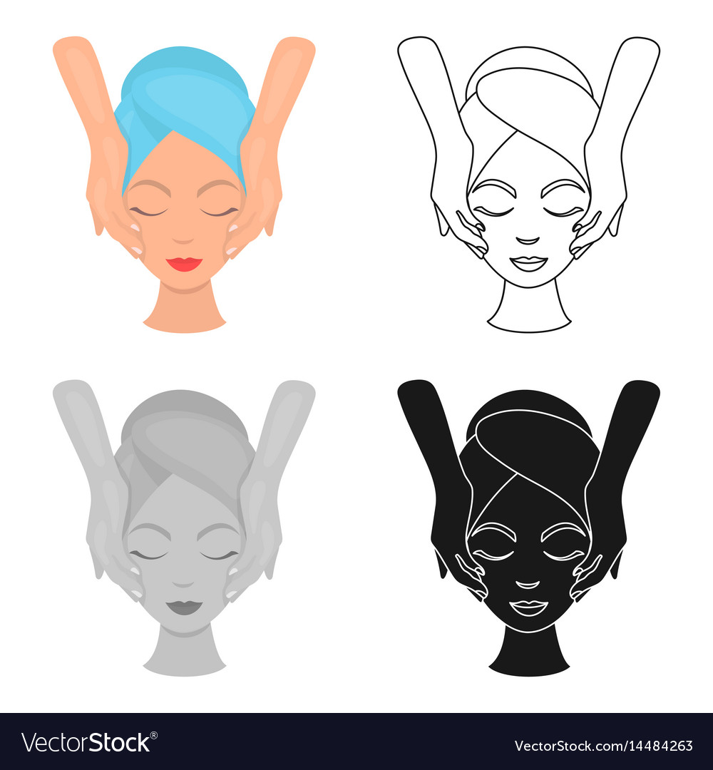 Facial massage icon in cartoon style isolated on