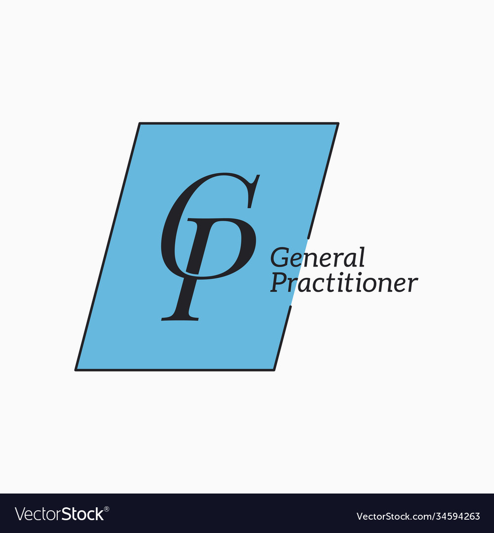 Gp logo with letter g and letter p on white