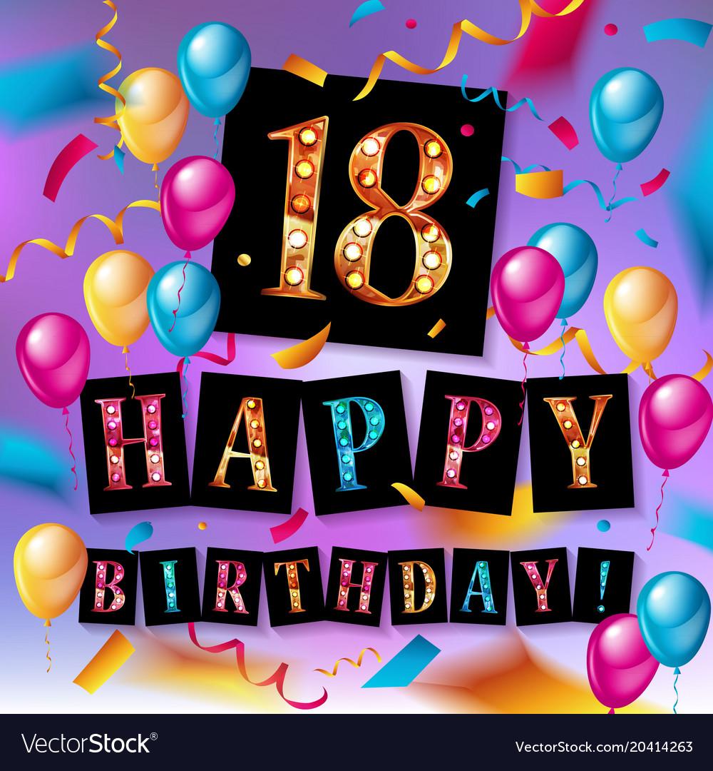 Groovy Happy Birthday 18 Years Anniversary Royalty Free Vector Funny Birthday Cards Online Alyptdamsfinfo