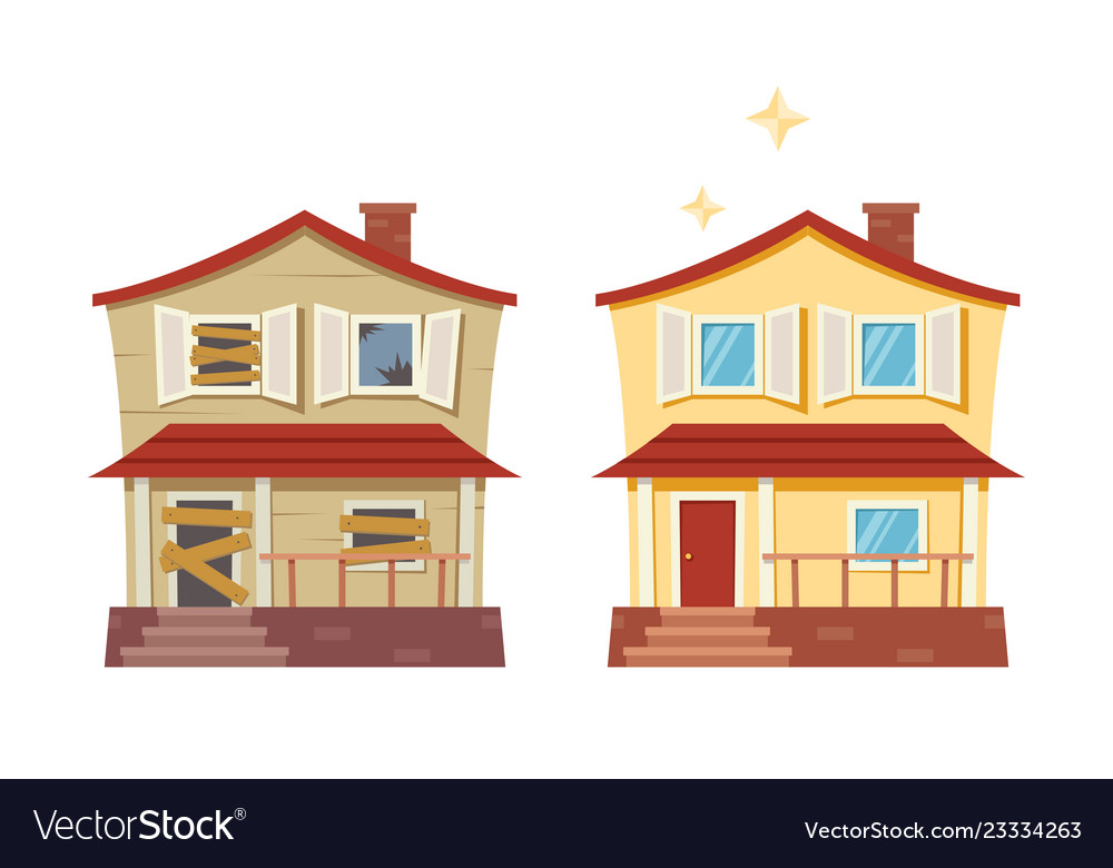 House Before And After Repair Old Run Down House Vector Image