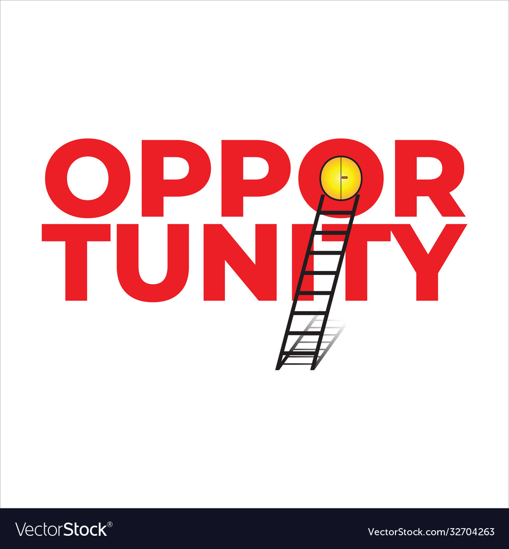 Opportunity concepts with text door and ladder