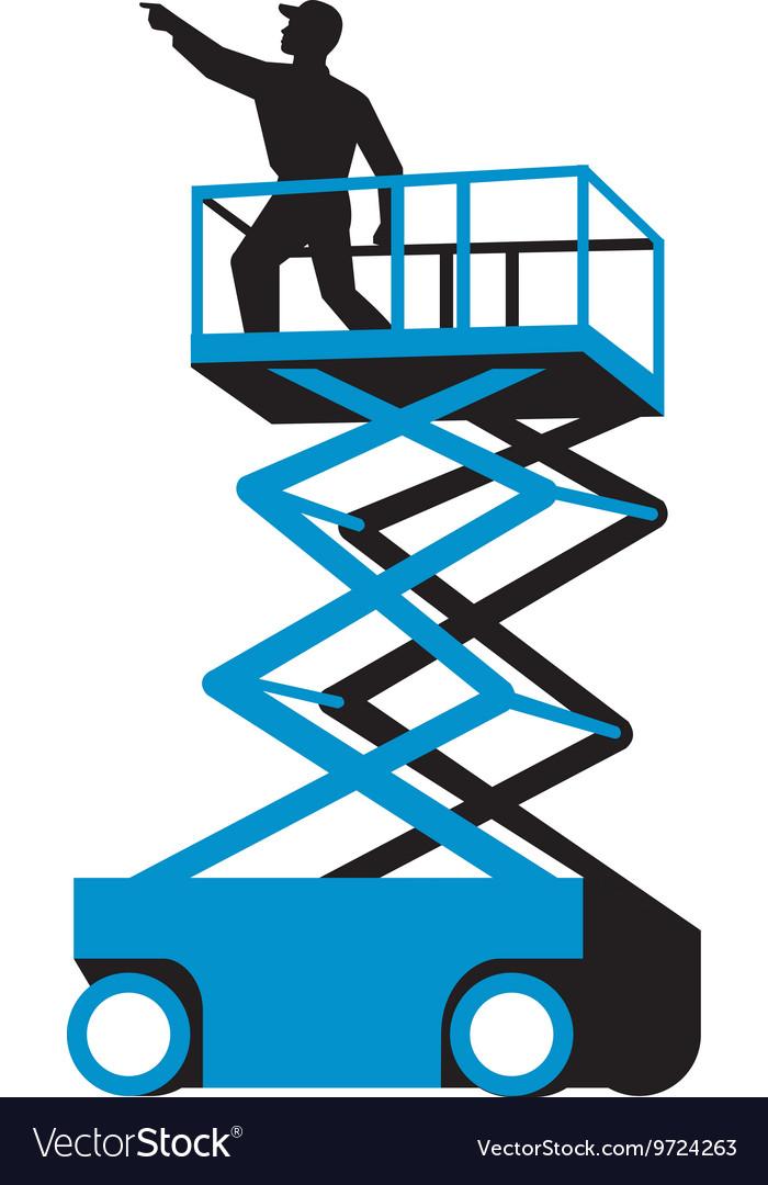 Scissor Lift Worker Pointing Retro