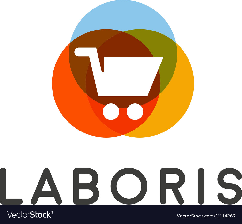 Shopping cart logo Shop sale discount store vector image