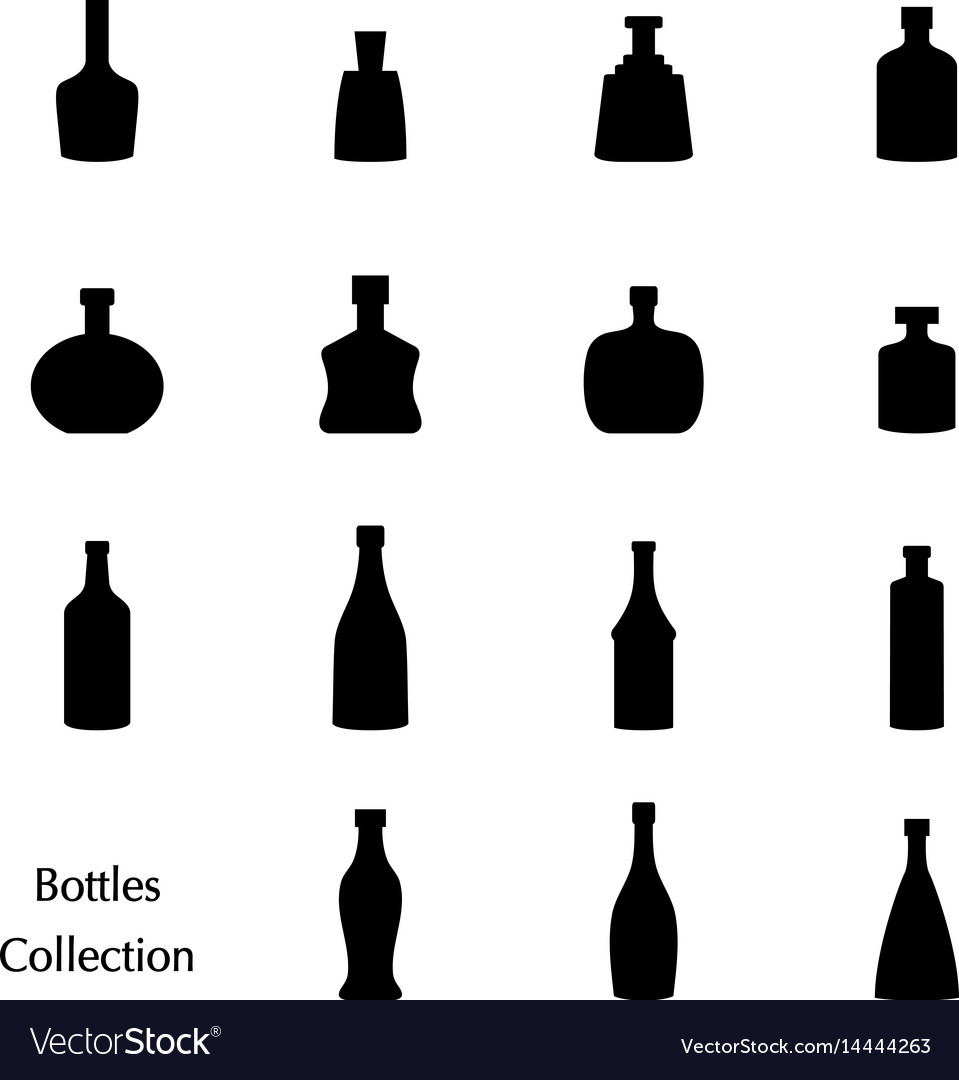 Silhouette of bottle collection set icons