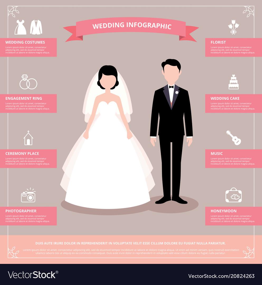 Stock of wedding infographic vector image