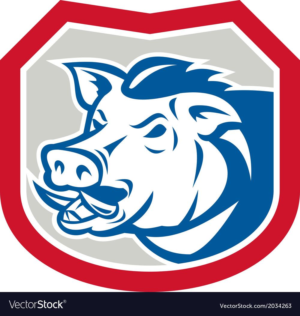 Wild Pig Razorback Head Shield Retro vector image