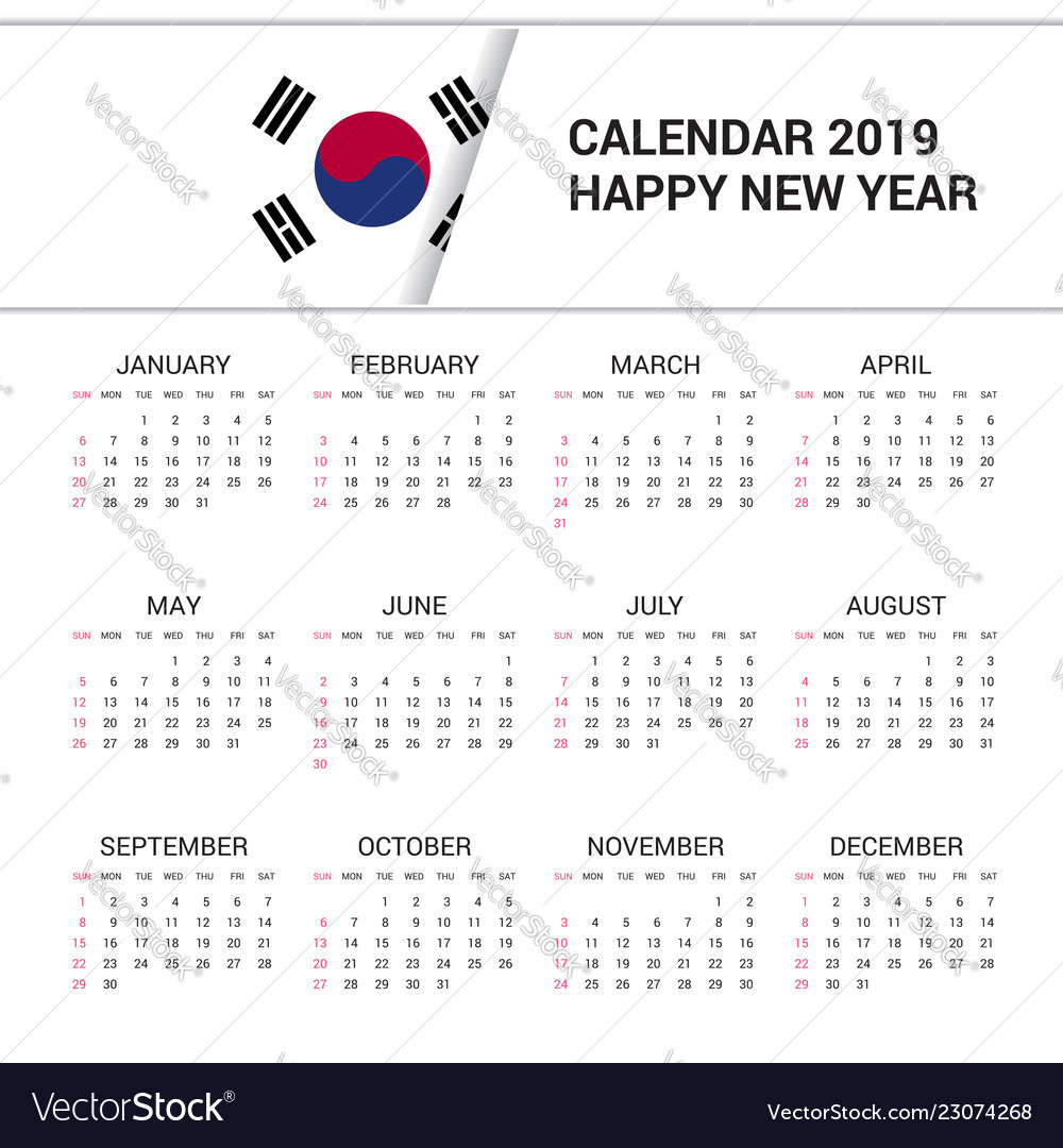 Korean Calendar 2019 Calendar 2019 korea south flag background english Vector Image