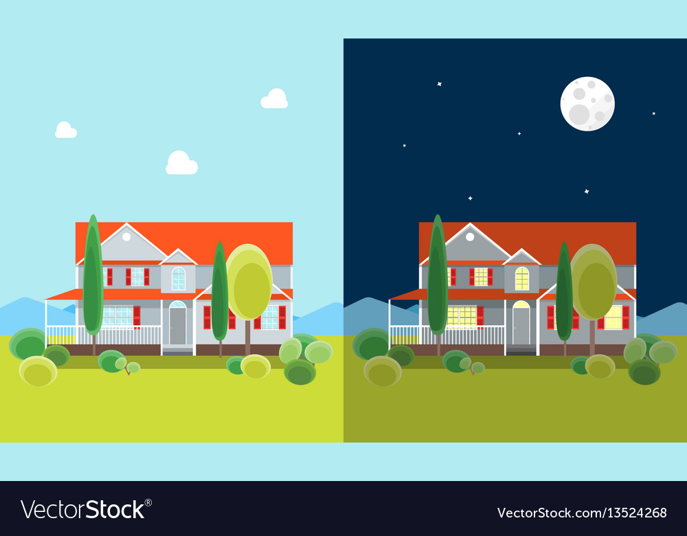 Cartoon house building day and night