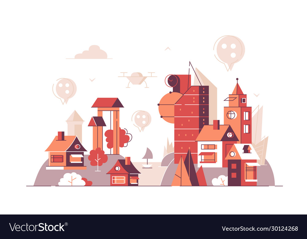 City buildings with location pins on top